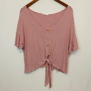 Lush | Red Stripe Knot Front Top Size L